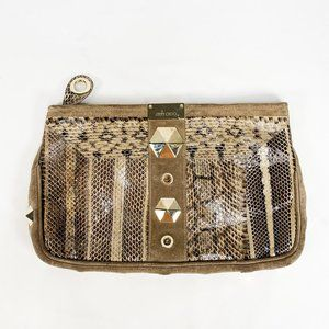 JIMMY CHOO Python Suede Studded Clutch Top Zip